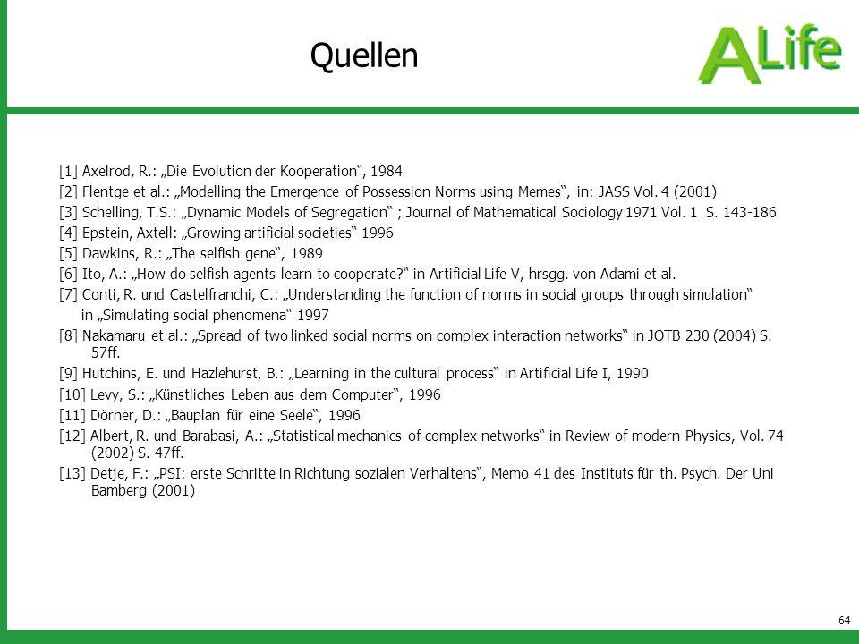 """Quellen [1] Axelrod, R.: """"Die Evolution der Kooperation , 1984"""